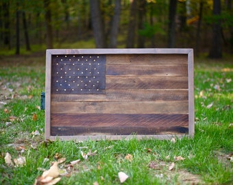American Flag Wall Art made with Reclaimed / Salvaged Barn Wood - w/ Lighted Stars