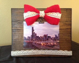 Burlap and Lace Wooden Picture Frame
