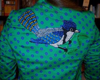 Polka-dot Blazer with Bird Patch