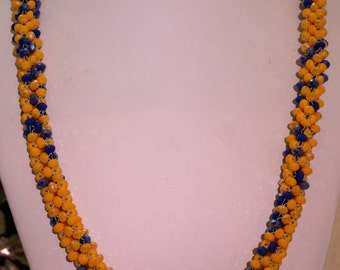 Statement Braided Necklace - Yellow and Royal Crystal Rope