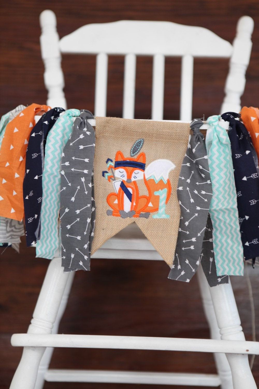 Woodland Fox Banner Tribal First One Birthday Party Banner