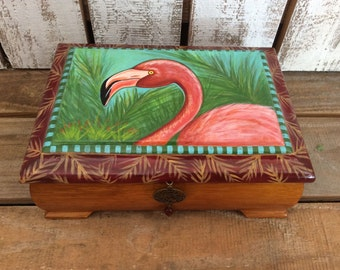 Hand Painted Flamingo Box for Jewelry or Trinkets, One of a kind, lined with fabric, gift for woman
