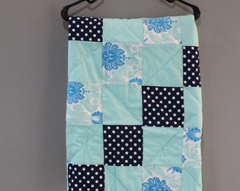 Baby blanket aqua navy gender neutral Hand Quilted