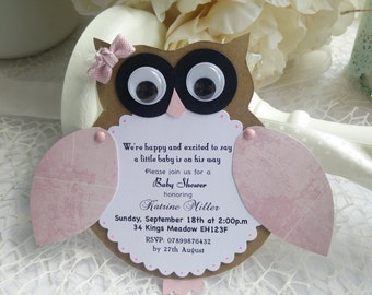 10 Owl Party invitations perfect for Birthday, Baby Shower Owl Invitations