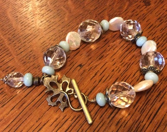 Coin Pearls and Vintage Crystal Bracelet