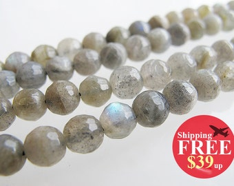 Natural labradorite, 8mm faceted round shape , gray with blue ray, 16 inch full strand,  FREE shipping