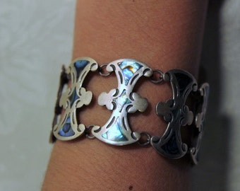 Mexican Sterling Bracelet - Mother of Pearl