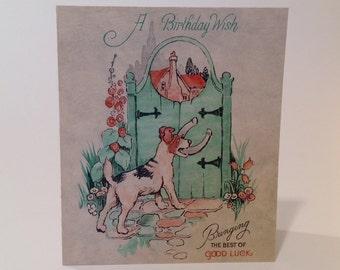 Vintage Birthday card terrier at the gate (unused)