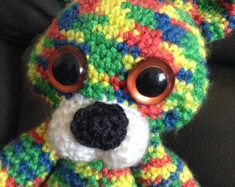 Free shipping Poseable rainbow crochet stuffed bear toy bright colors teddy bear amigurumi