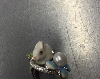 Enamel White Rabbit Ring