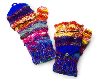 Wool Fingerless Gloves,Texting Gloves, Handknit Fingerless Gloves, Convertible Mittens - Mega-Multi-Colored - 1760Y