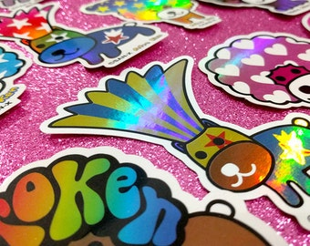 RARE Afro Ken HoLoGrApHic Stickers by San-X (Full set or Choose your faves!)