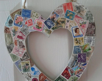 Valentine Gift For Him, For Her, Valentine Idea, Wooden Love Heart Decorated With Genuine Postage Stamps