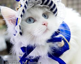 Noble royal blue Cat  bonnet, cape