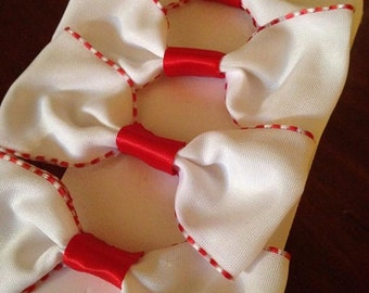 Hair bows, Bobby pins , small bows, Red and white bows
