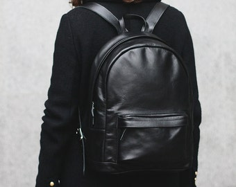 Grand black leather backpack / leather rucksack / gift / men woman/