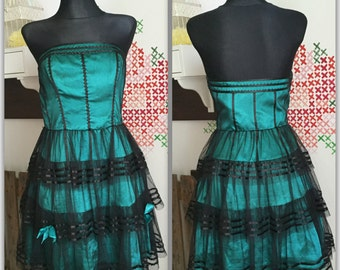 Lovely green dress with black lace