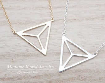 Sterling Silver Upside Down Triangle with Pyramid Illusion Necklace