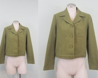 Olive Green Drab Wool Jacket / Vintage Boxy Blazer / Cropped Lightweight Coat / Modern Size Small to Medium