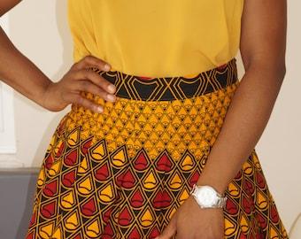 Ankara Mini Skirt, African print skirt, gathered skirt, box pleat skirt