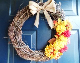 Fall Wreath, Autumn Wreath, Harvest Wreath, Rustic Wreath, Fall Decor, Harvest Decor, Front Door Wreath, Grapevine wreath, Autumn Decor
