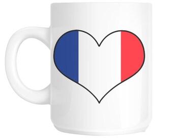 I Love Heart France Flag Design Gift Mug shan746