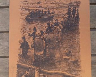 """Lithograph """"The fishermen of Sète"""" Robert Feqiakidip 1981 vintage"""