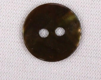 20 buttons 12mm mother of Pearl, dark green, 2 holes (3414)