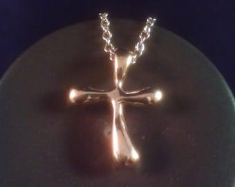 SALE! Sterling silver freeform cross necklace