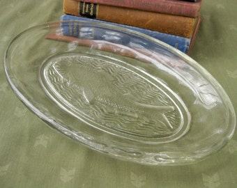 Glass Fish Plate / Serving Fish / Oval Plate / Heavy Glass / Trout / Salmon