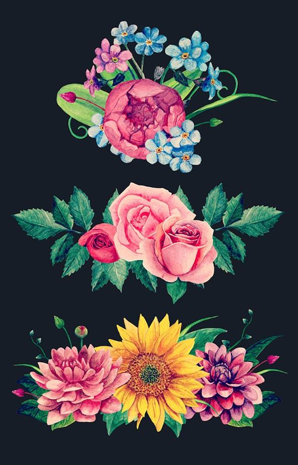 Watercolor bouquet clip art boho flowers arrangements hand