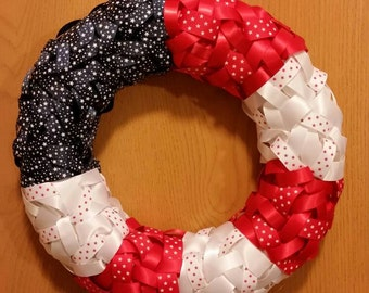 4th of July, patriotic, american flag ribbon wreath