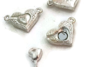 Single Strand Silver Double Heart Magnetic Clasp 3909-cl4