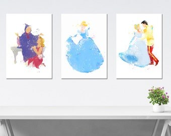 Set Poster Cinderella Disney, Cinderella Set Watercolor, 3 Posters Cinderella Princess, Baby girl Nursery, Print for Children, Kids art