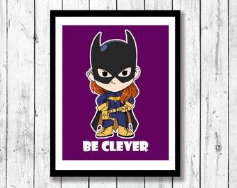 Superhero Inspried Wall Art-Batgirl, Kids Superhero art, Superhero nursery, Babara Gordon, chibiart