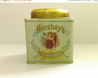 On Sale Vintage Hershey's Cocoa Tin/Storage Container. Made by Bristol Ware. Exceptional condition and vibrant colors.