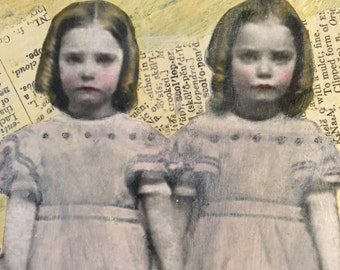 Art Mixed Media Collage Painting - The Twins