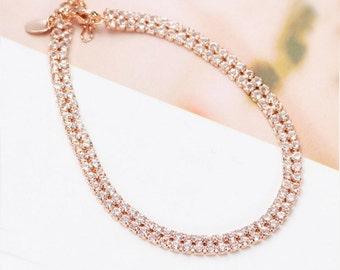 Thin Wedding Bracelet, Thin Rose Gold Wedding Bracelet, Crystal Bracelet, Simple Rose Gold Bridal Bracelet, Rose Gold Jewelry