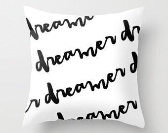 Black and White Pillow - Dreamer Pillow - Modern Decorative Pillows - Velveteen Pillow Cover - Modern Pillows - Gifts for Her - Teen Gifts