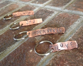 Personalized Hammered Copper Keychain