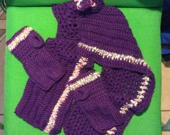 Scarf with open-finger gloves purple