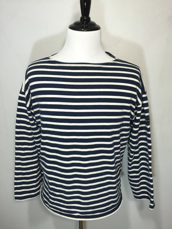 Saint james striped long sleeve slouchy shirt scoop neck navy for St james striped shirt