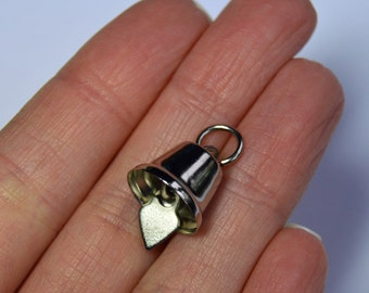 Bell Charm x10 - Silver plated, ringing bell charm. Bells