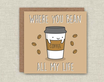 items similar to i love you a latte pun card  funny love card, Birthday card