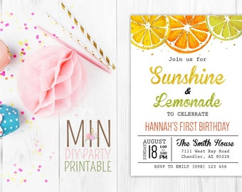 Glitter Sunshine Lemonade,Pink Lemonade Stand Birthday Invitation, Lemonade Birthday,Lemonade Invite,Lemonade Baby shower