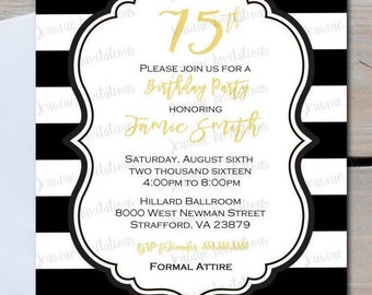 50th 60th 70th Birthday Invitation, Black and White Stripes(any age),5x7 Printed or Digital File***FREE SHIPPING