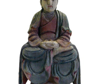 Vintage Chinese Carved Wood Color Meditation Buddha Figure cs690-2E