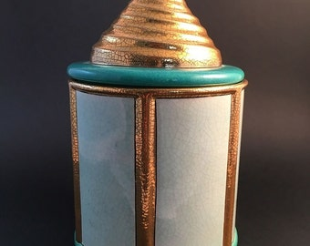Covered pot ENAMELS of LONGWY model Chantilly, turquoise and gold TBE
