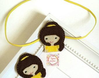 Princess Headband/Baby Headband/Princess Hair Clip/Belle Headband/Belle Hair Clip/Disney Princess Headband/Princess Clip/Princess Belle