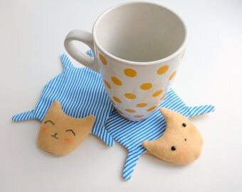 Cute Cat Fabric Coasters for cups, set of 2